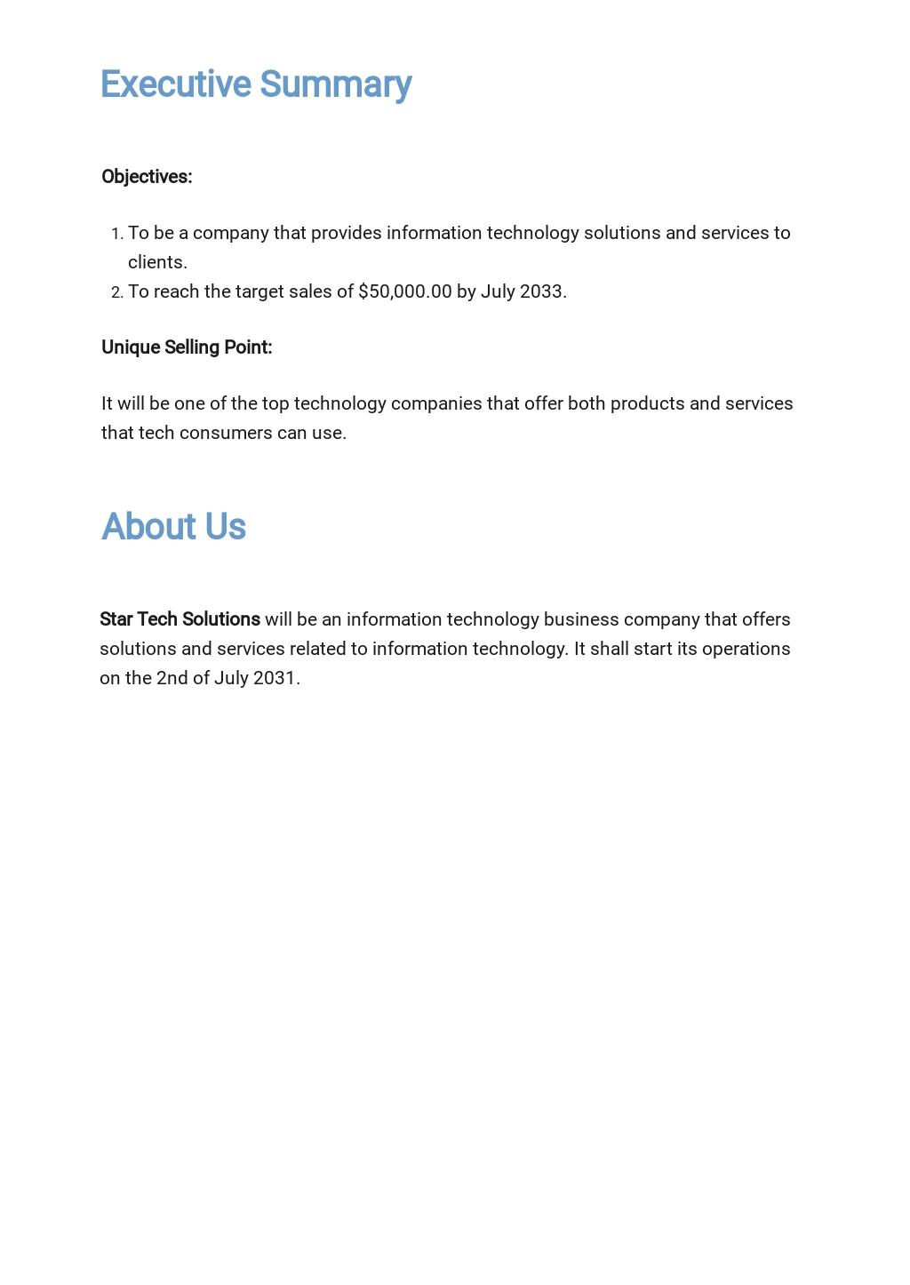 Free Sample Information Technology Business Plan Template 1.jpe