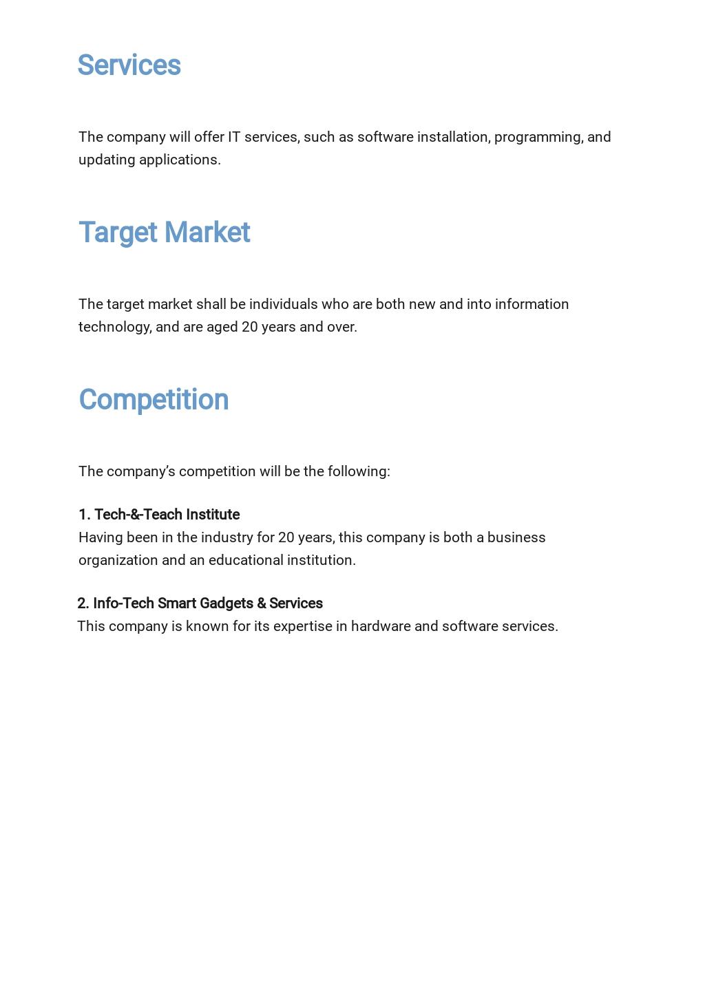 Free Sample Information Technology Business Plan Template 2.jpe