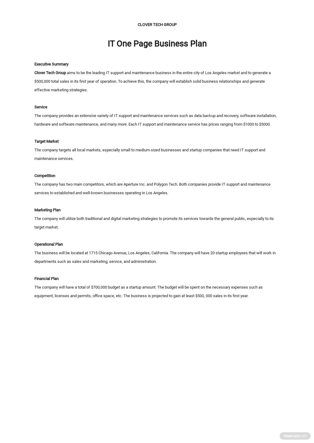 Sample IT One Page Business Plan Template
