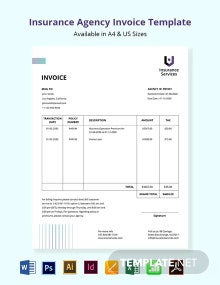 Free Insurance Agency Invoice Template