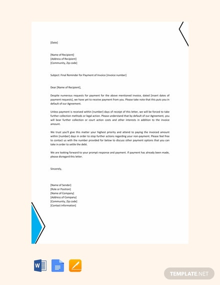 Free Final Reminder Letter Template