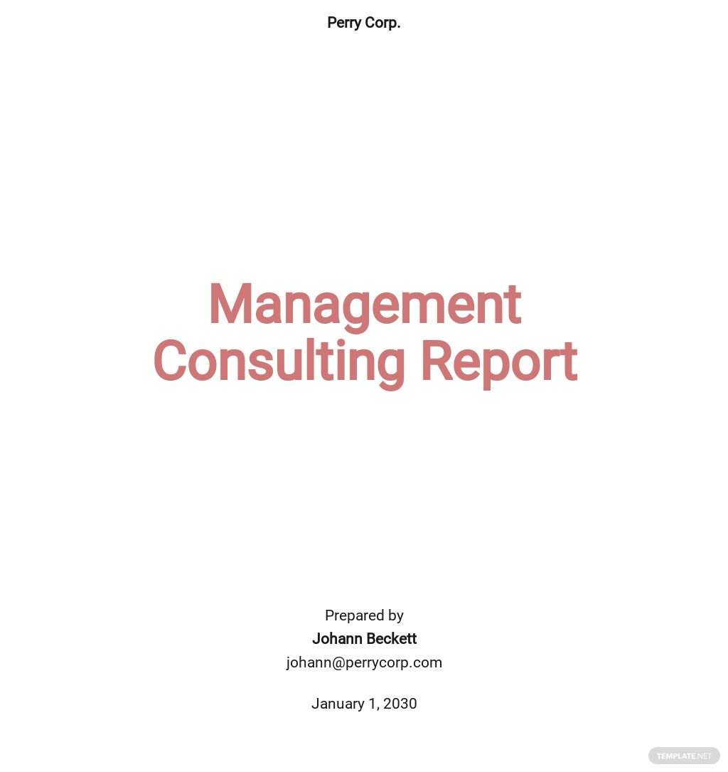 Management Consulting Report Template