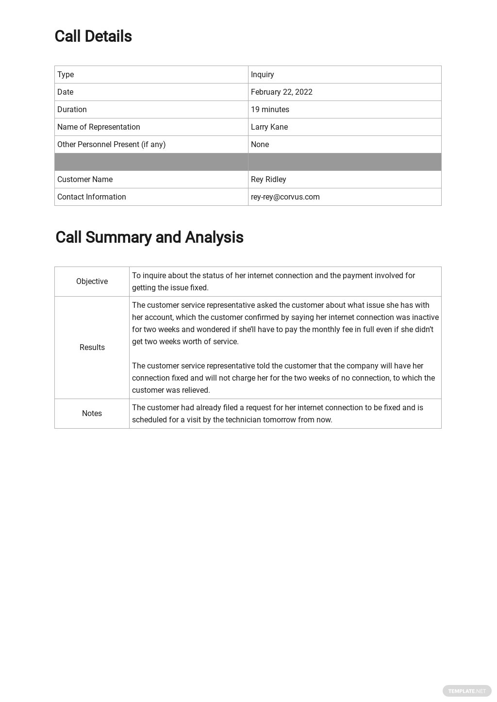 Customer Service Call Report Template 1.jpe