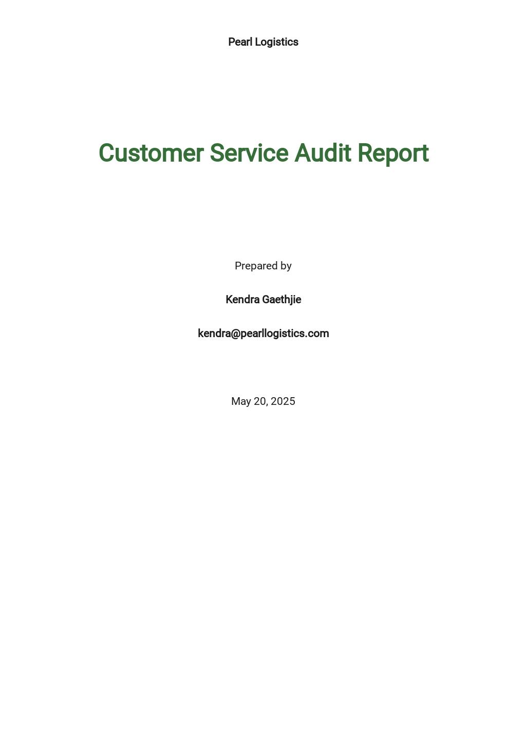 Customer Service Audit Report Template