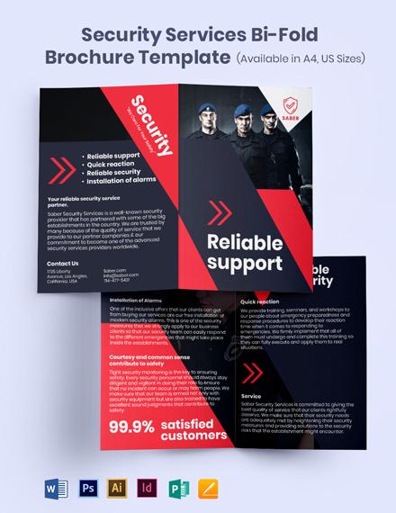 Security Services Bi-Fold Brochure Template