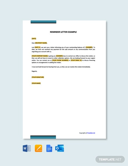 Reminder Letter Example Template