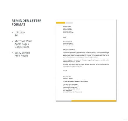 Reminder Letter Format