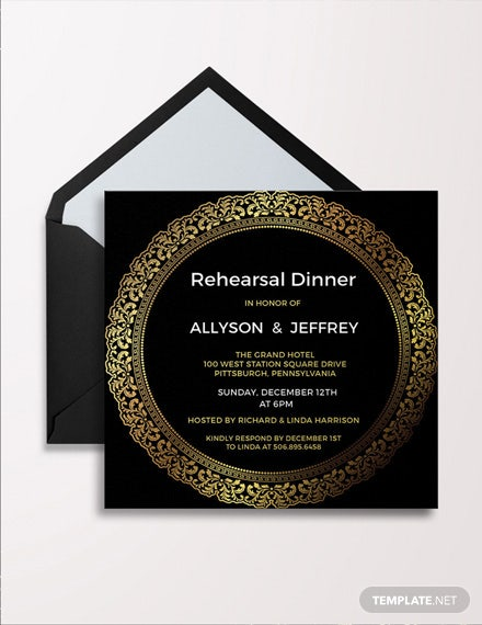 Free Elegant Rehearsal Dinner Invitation Template