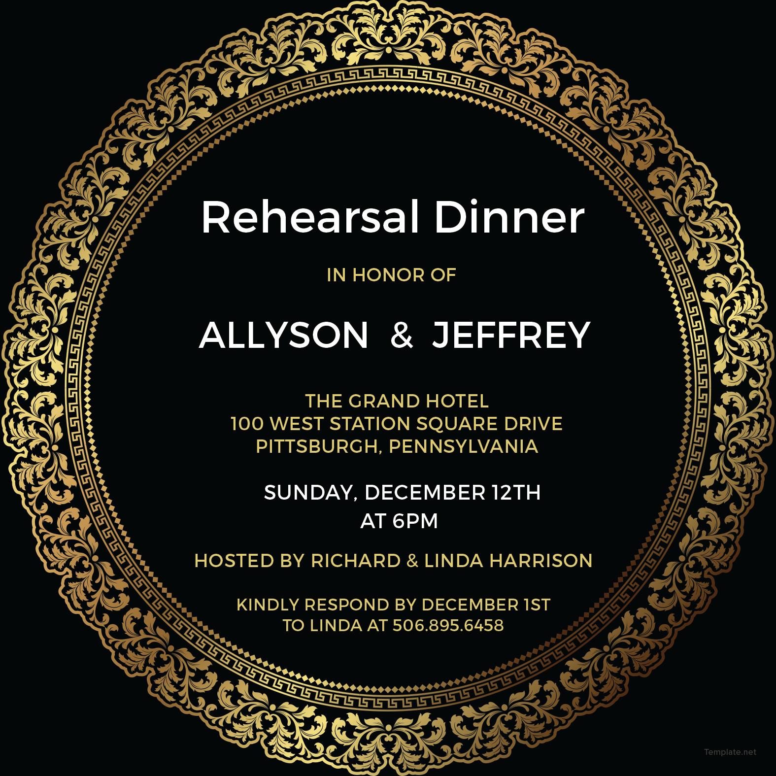 Elegant Rehearsal Dinner Invitation Template in Adobe Photoshop ...