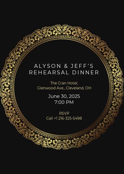 Free Elegant Rehearsal Dinner Invitation Template