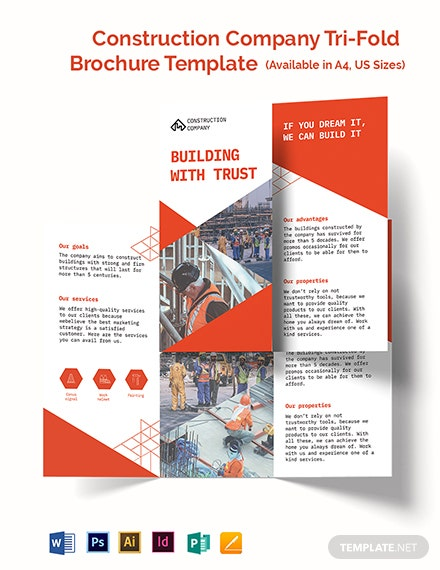 Construction Company Tri-Fold Brochure Template