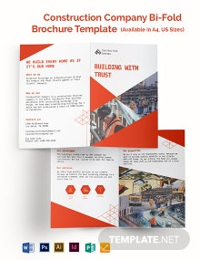 Construction Company Bi-Fold Brochure Template