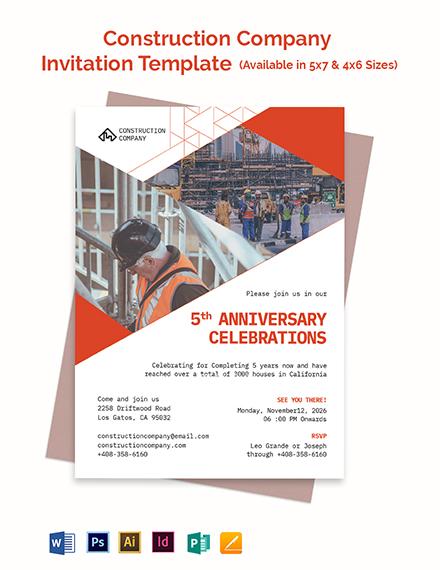 Construction Company Invitation Template