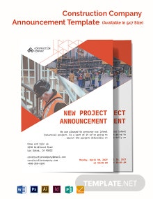 Construction Company Announcement Template