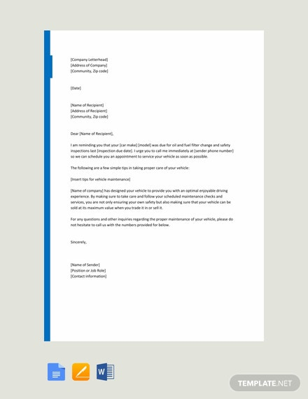 free service reminder letter template  download 2538