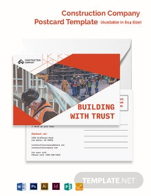 Construction Company Postcard Template