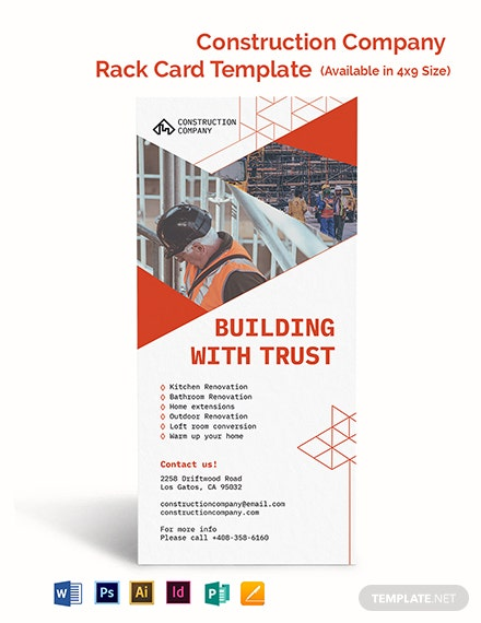 Construction Company Rack Card Template