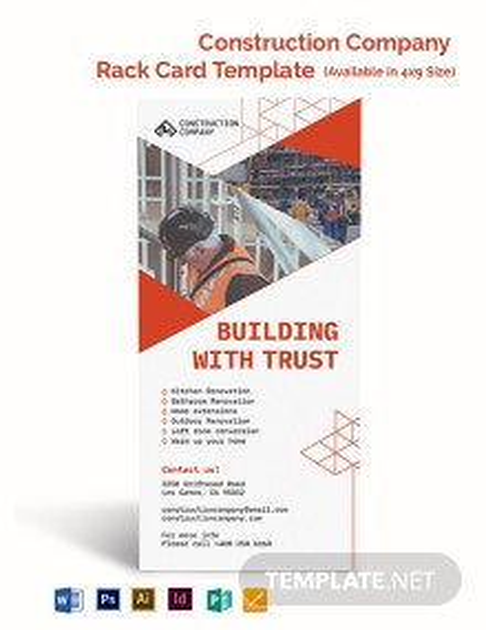 Construction Company Rack Card Template