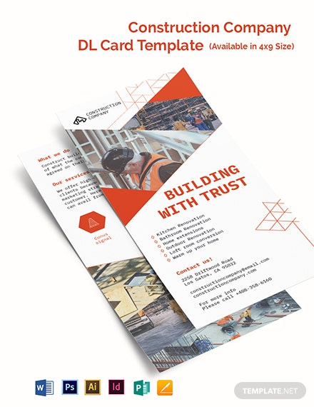 Construction Company DL Card Template