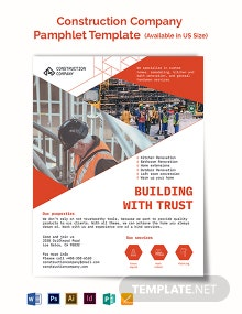 Construction Company Pamphlet Template
