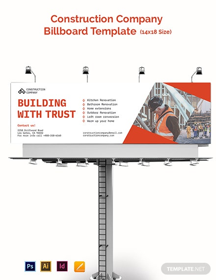 Construction Company Billboard Template