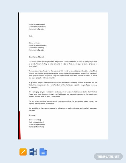 Free Event Sponsorship Letter Template