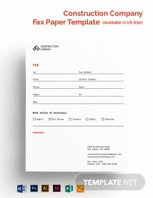 Construction Company Fax Paper Template