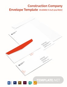 Construction Company Envelope Template