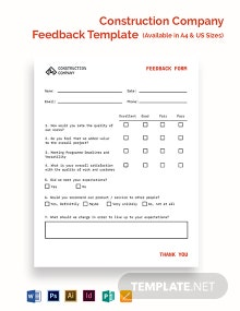 Construction Company Feedback Form Template