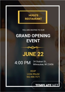 Free Restaurant Opening Invitation Template