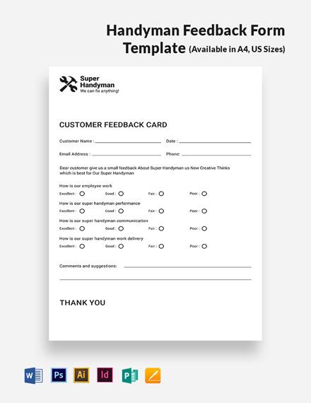 Handyman Feedback Form Template