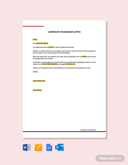Free Corporate Sponsorship Letter Template
