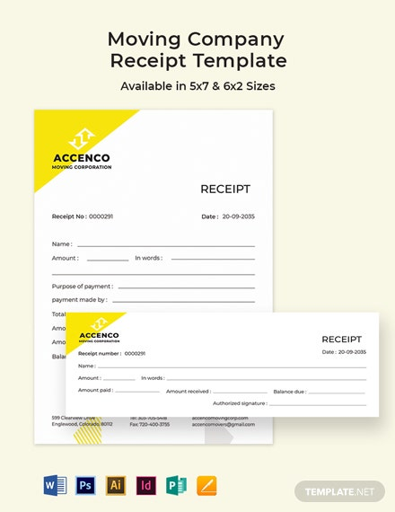 Moving Company Receipt Template