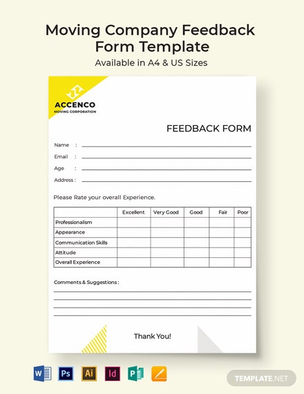 Moving Company Feedback Form Template