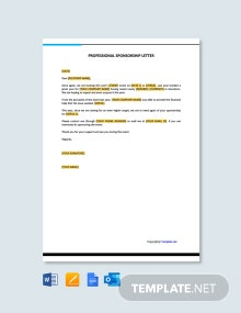 Free Professional Sponsorship Letter Template