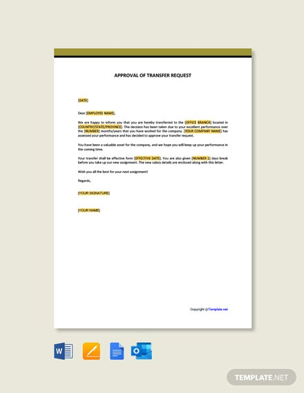 Approval of Transfer Request Template