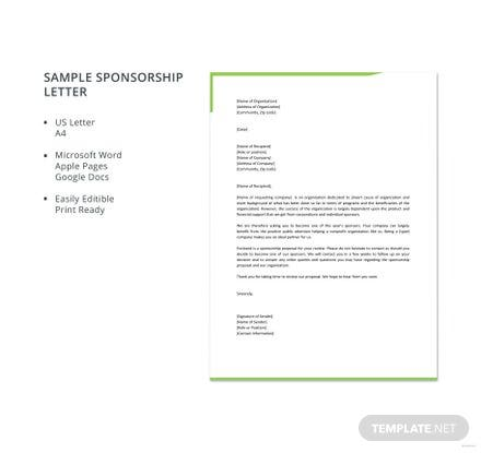 Sample Sponsorship Letter Template