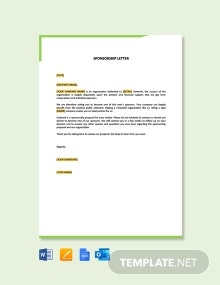 Free Sample Sponsorship Letter Template