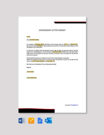 Free Sponsorship Letter Format