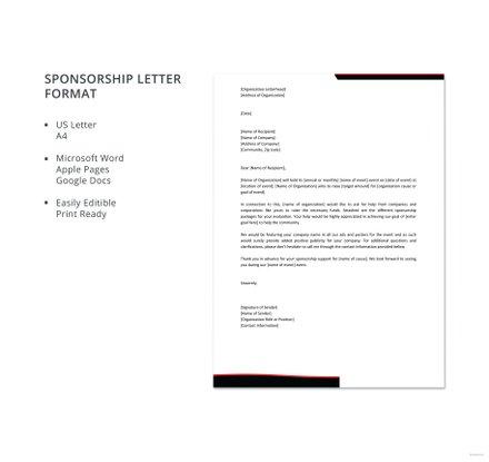 Sponsorship Letter Format