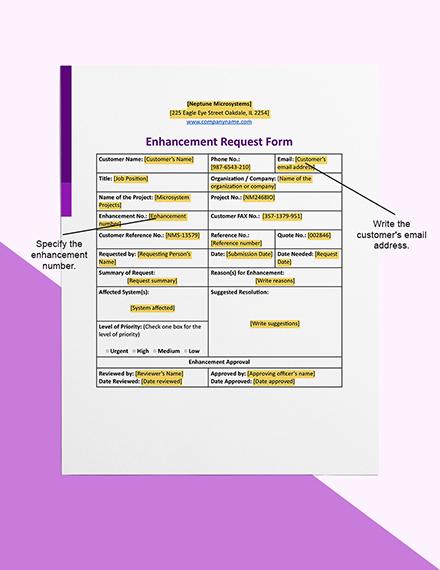 Enhancement Request Editable