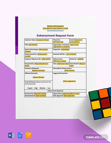 Enhancement Request Form Template