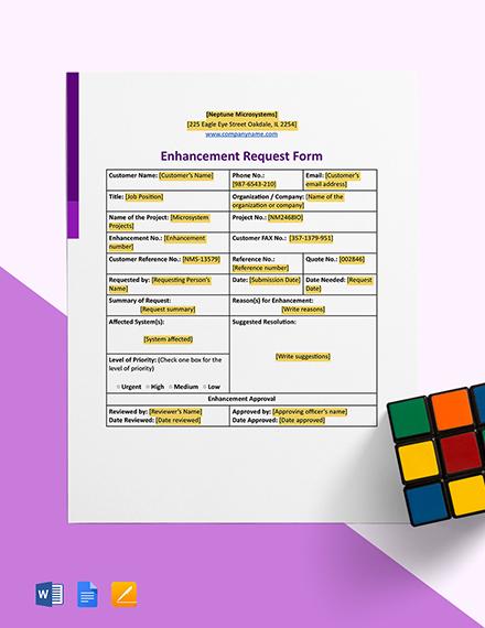 Enhancement Request Form Template