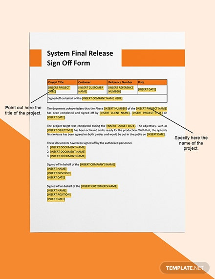 System Final Release Signoff Editable