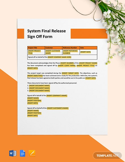System Final Release Signoff Format