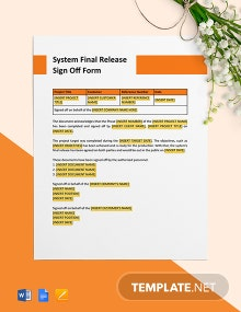 System Final Release Sign-Off Form Template