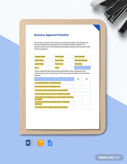 Business Approval Checklist Form Template
