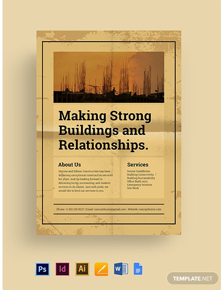Free Vintage Construction Marketing Flyer Template