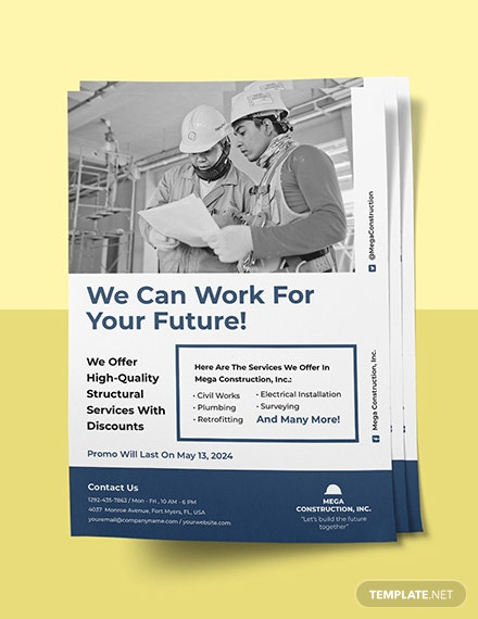 construction promotional flyer template Sample