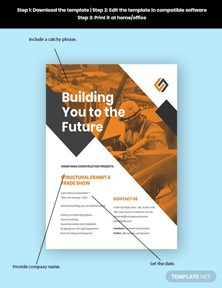 Commercial Construction Marketing Flyer Template sample
